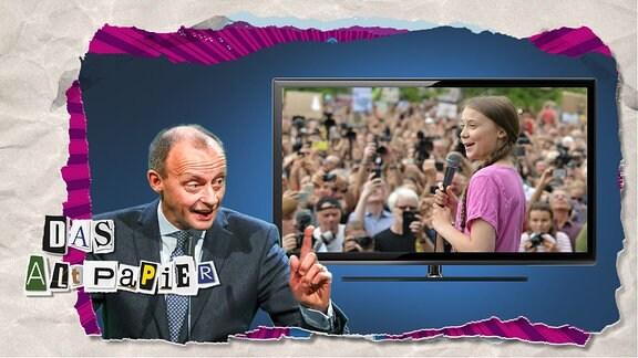Collage zur Medienkolumne Das Altpapier vom 26. September 2019: Friedrich Merz mit erhobenem Zeigefinger. Im Hintergrund ein Bildschirm mit Greta Thunberg.