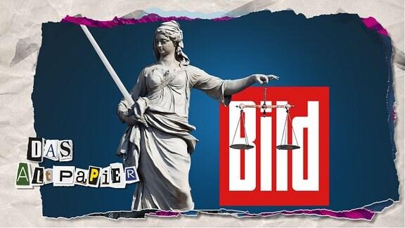 Collage zur Medienkolumne Das Altpapier vom 27. September 2019: Justitia-Statue vor dem Logo der BILD-Zeitung.