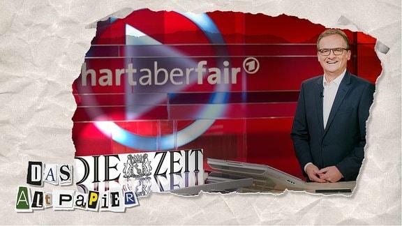 """Collage zur Medienkolumne Das Altpapier vom 30. September 2019: """"Die Zeit"""" im """"hart aber fair""""- Studio"""