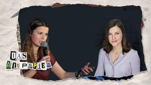 Collage zur Medienkolumne Das Altpapier am 09. Oktober 2019: Hanna Zimmermann (ZDF) und Luisa Neubauer (fridays for future)