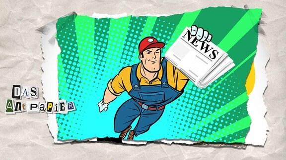 Collage zur Medienkolumne Das Altpapier vom 6. Februar 2019: Ein fliegender Mann mit roter Mütze hält eine Zeitung in der Hand