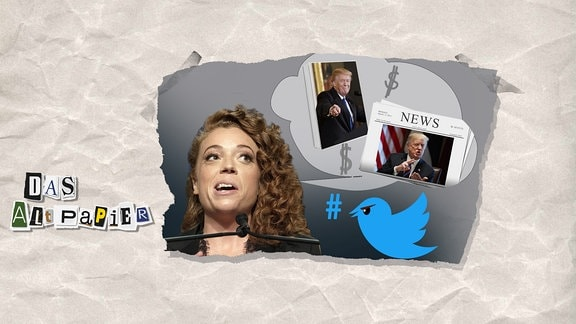 Collage zur Medienkolumne Das Altpapier am 30. April 2018: Michelle Wolf hat auf dem Correspondent's Dinner in den USA nicht nur Trump, sondern auch die Medienvertreter gefoppt. Dafür gab es Schelte auf Twitter.