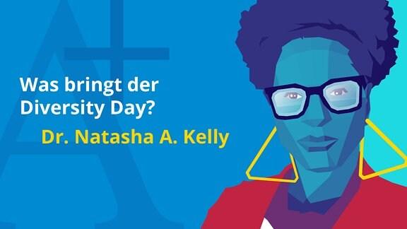 Grafisch gestaltetes Porträt von Dr. Natasha A. Kelly.
