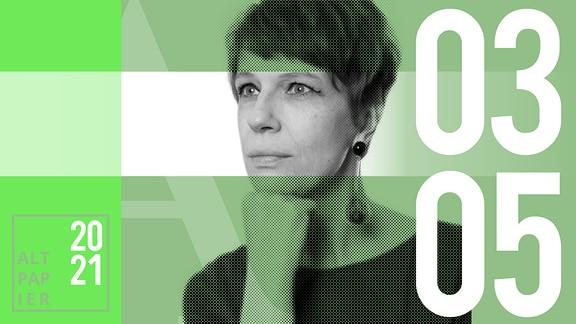 Teasergrafik Altpapier vom 3. Mai 2021: Porträt der Autorin Jenni Zylka
