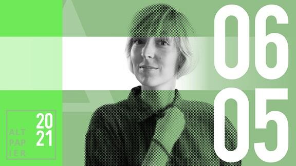 Teasergrafik Altpapier vom 6. Mai 2021: Porträt Autorin Nora Frerichmann