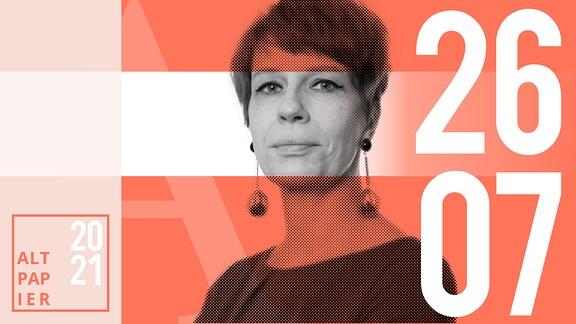 Teasergrafik Altpapier vom 26. Juli 2021: Porträt der Autorin Jenni Zylka