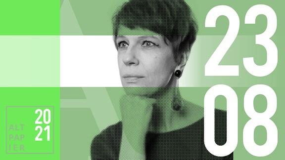 Teasergrafik Altpapier vom 23. August 2021: Porträt der Autorin Jenni Zylka