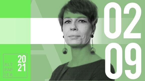 Teasergrafik Altpapier vom 2. September 2021: Porträt der Autorin Jenni Zylka