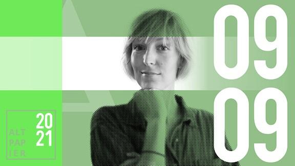 Teasergrafik Altpapier vom 9. September 2021: Porträt Autorin Nora Frerichmann