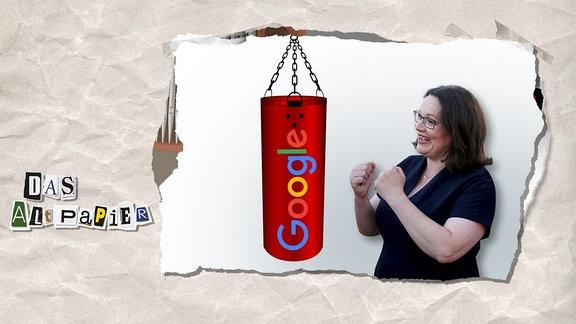 Teasergrafik Altpapier vom 14. August 2018: Andrea Nahles steht angriffslustig vor einem Boxsack mit dem Google-Logo.