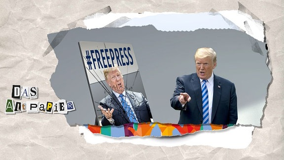 Teasergrafik Altpapier vom 17. August 2018: Donald Trump vor einem zerbrechenden Spiegel auf dem #FreePress steht.