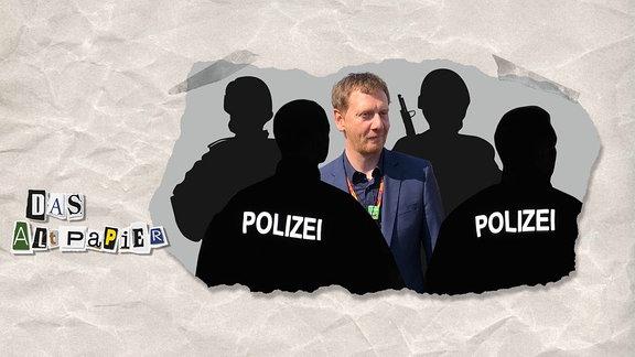 Teasergrafik Altpapier vom 20. August 2018: Michael Kretschmer umringt von schwarzen Polizei-Silhouetten.