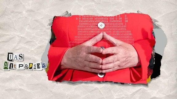 Teasergrafik Altpapier vom 22. August 2018: Angela Merkels Hände formen eine Raute. Darüber sind die Zahlen 0 und 1 abgebildet.