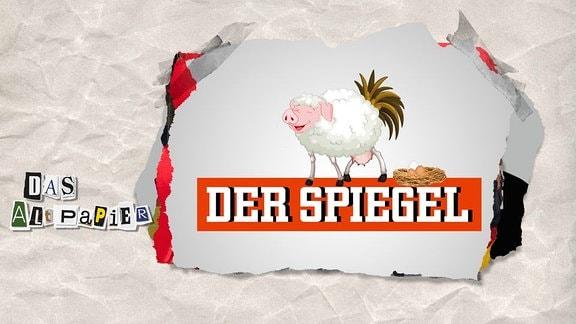 Teasergrafik Altpapier vom 23. August 2018: Eine eierlegende Wollmilchsau auf dem Spiegel-Logo