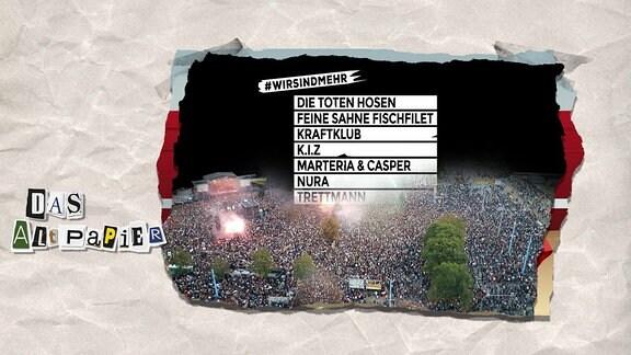 Teasergrafik Altpapier vom 4. September 2018: Konzertbesucher sowie #wie sind mehr