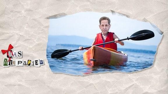 Teasergrafik Altpapier vom 11. September 2018: Hans-Georg Maaßen sitzt rudernd im Boot. Über dem Logo kleine rote Schleife, anlässlich des Geburtstages.