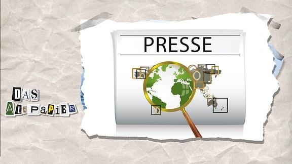 Teasergrafik Altpapier vom 12. September 2018: Kontinente mit Bilderrahmen drauf sowie eine Lupe, unter der die Welt ohne Framing gesehen wird.