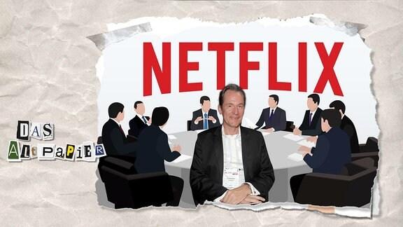 Teasergrafik Altpapier vom 19. September 2018: In einer Männerrunde ist Mathias Döpfner zu sehen. darüber das Netflix-Logo.