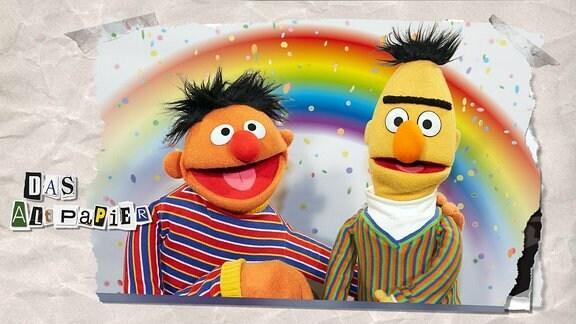Teasergrafik Altpapier vom 20. September 2018: Ernie und Bert aus der Sesamstraße vor einem Regenbogen.