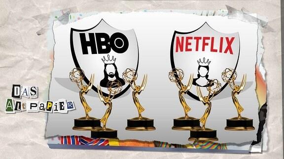Teasergrafik Altpapier vom 21. September 2018: Emmy-Trophäen sowie die Logos von HBO und Netflix.