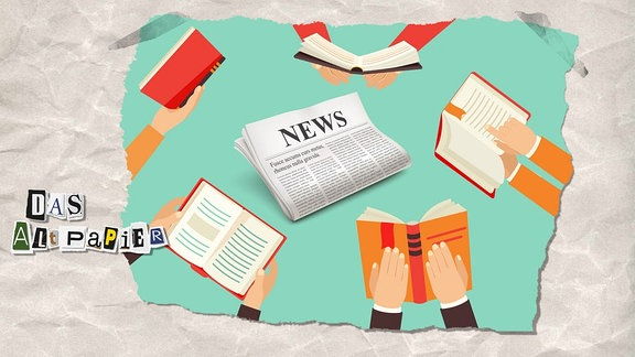 Teasergrafik Altpapier vom 24. September 2018: Hände halten Bücher, mittig liegt eine Zeitung.