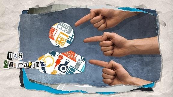 Teaserbild Altpapier am 23. Mai 2019: Hände zeigen schuldzuweisend auf ein Icon, das verschiedene Medien-Symbole enthält