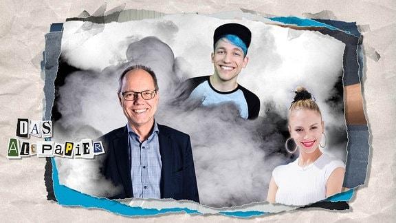 "Teaserbild Altpapier am 24. Mai 2019: Portraifotos von SWR-Intendant Kai Gniffke, Youtuber ""Rezo"" und Germany-Next-Top-Model-Siegerin Simone Kowalski"