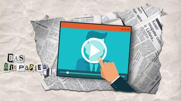 Teaserbild Altpapier am 27. Mai 2019: Bildschirm mit Play-Button. Im Hintergrund liegen Zeitungen.