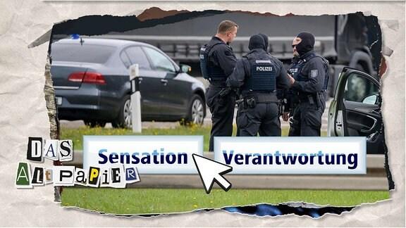 """Teasergrafik Altpapier vom 10. Oktober 2019: Ein Foto zeigt den Polizeieinsatz nach dem Attentat in Halle/Saale, darauf sind zwei Buttons zu sehen: """"Sensation"""" und """"Verantwortung"""". Ein Mauszeiger zeigt auf """"Sensation""""."""