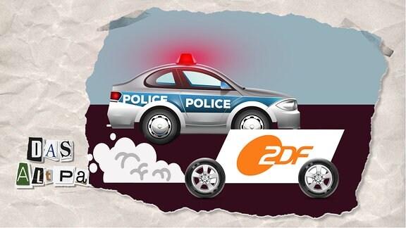 Teasergrafik Altpapier vom 21. Oktober 2019: ZDF-Logo überholt Polizeiauto