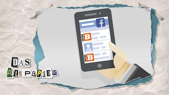 Teasergrafik Altpapier vom 29. Oktober 2019: Handy mit Facebook-Timeline. In der Timeline ist mehrfach das Breitbart-Logo zu sehen