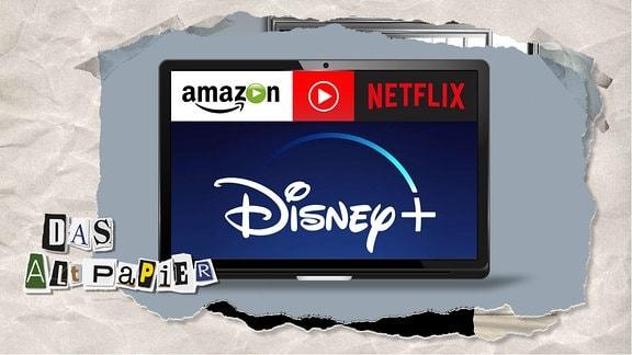 Teasergrafik Altpapier vom 12. November 2019: Logos von Disney+, Amazon und Netflix auf einem Bildschirm.