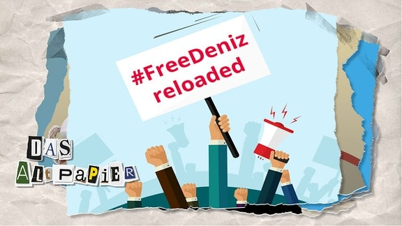 """Teasergrafik Altpapier vom 15. November 2019: Demo-Plakat mit Aufschrift """"#FreeDeniz reloaded"""""""