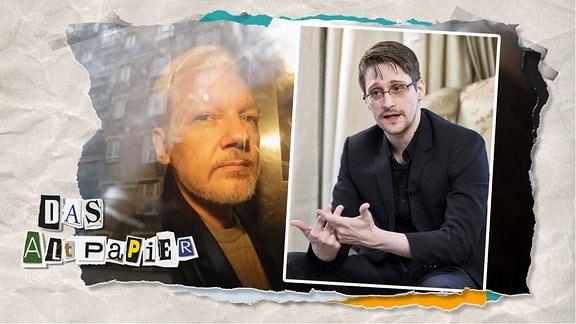 Teasergrafik Altpapier vom 20. November 2019: Bilder von Julian Assange und Edward Snowden