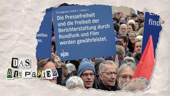 Teasergrafik Altpapier vom 25. November 2019: Menschen auf Demonstration halten Schild empor.
