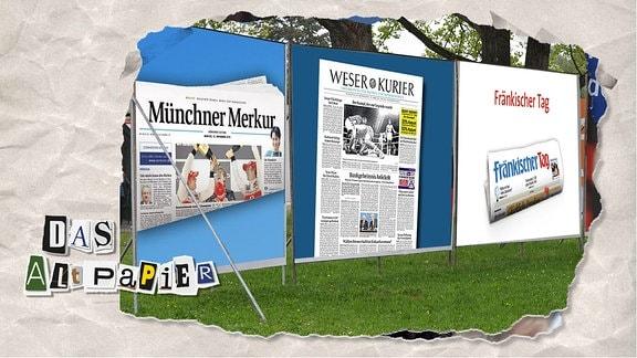 Teasergrafik Altpapier vom 26. November 2019: Wahlplakate mit Zeitungen.
