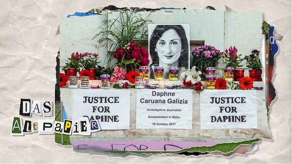 Teasergrafik Altpapier vom 28. November 2019: Kerzen und Foto von ermordeter Journalistin Daphne Caruana Galizia