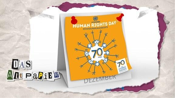 Teasergrafik Altpapier vom 10. Dezember 2019: Kalenderblatt 10. Dezember 2019. Darauf steht: Human Rights Day #StandUp4HumanRights mit dem Logo der UNO
