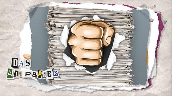 Teasergrafik Altpapier vom 12. Dezember 2019: Eine Faust kommt aus einen Stapel Zeitungen heraus.