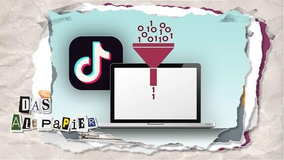 Teasergrafik Altpapier vom 13. Dezember 2019: Das Logo von TikTok leicht versteckt hinter einem Laptop. Ein Trichter schwebt darüber. Oben fallen Nullen und Einsen rein und unten kommen nur ein paar Einsen raus.