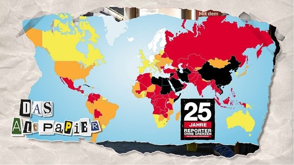 Teasergrafik Altpapier vom 17. Dezember 2019: Weltkarte von Reporter ohne Grenzen