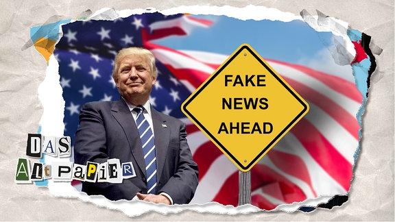 """Teasergrafik Altpapier vom 19. Dezember 2019: US-Präsident Trump steht vor einer amerikanischen Flagge. Daneben ein Schild mit der Aufschrift """"Fake News Ahead""""."""