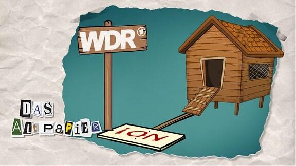"""Teasergrafik Altpapier vom 6. Januar 2020: Hühnerstall mit einem Schild auf dem WDR steht davor. Daneben liegt ein Transparent mit der Aufschrift """"No!"""""""