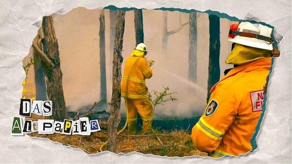 Teasergrafik Altpapier vom 7. Januar 2020: Australische Feuerwehrmänner beim Löscheinsatz während eines Buschfeuers