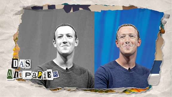 Teasergrafik Altpapier vom 9. Januar 2020: Mark Zuckerberg mit Gittermaske einer Algorithmus-Abtastung, daneben ein Mark Zuckerberg in schwarz-weiß.