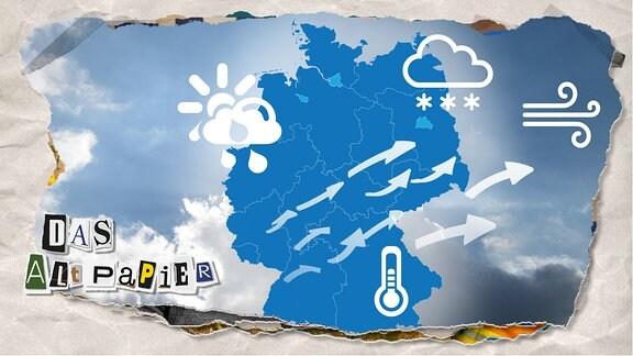 """Teasergrafik Altpapier vom 10. Januar 2020: Wetterkarte von Deutschland mit den Symbolen für Wind, Wolken, Frost und """"heiter bis wolkig""""."""
