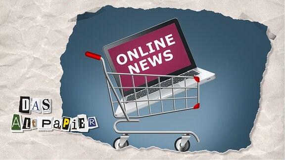 """Teasergrafik Altpapier vom 13. Januar 2020: Einkaufswagen mit einen Laptop darin. Auf dem Bildschirm des Laptops ist der Schriftzug """"Online News"""" zu lesen."""