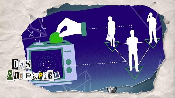 Teasergrafik Altpapier vom 14. Januar 2020: Fernsehr mit Geldschlitz. Eine Münze wird eingeworfen. Daneben drei Personen, die Nutzer, Journalisten und Politik symbolisieren.