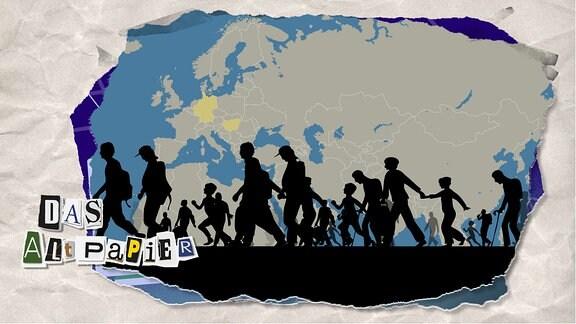 Teasergrafik Altpapier vom 15. Januar 2020: Schwarze Silhouetten von Menschen, die vor einer Europakarte von Ost nach West laufen.