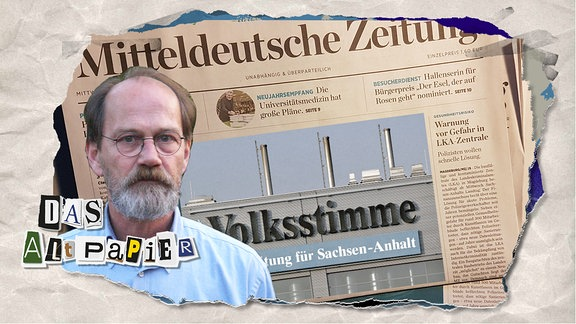 Teasergrafik Altpapier vom 16. Januar 2020: Collage mit Medien-Experte Horst Röper, Volksstimme und Mitteldeutsche Zeitung.